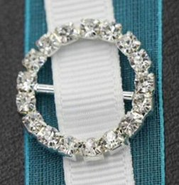 Wholesale Rhinestone Buckles For Invitations - Hot Sale 50pcs lot Gold silver Wedding Supply 20mm Round Rhinestone Slider Buckles For Rhinestone Napkin Rings Weddings invitations Card