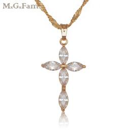 (150P) MGFam Great Jesus Cross Ciondolo Gioielli in oro giallo 18k con zircone riempito con catena da 45 cm. da pietra di zircone gialla fornitori