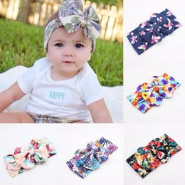 Wholesale Childrens Tiaras - baby flower wide headbands childrens christmas hair accessories girls big bows hair bands kids boutique hair bows cotton elastic headwrap