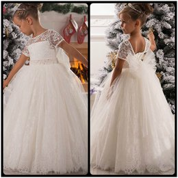 Wholesale Open Back Flower Girl Dresses - Princess Flower Girl Dress Lace Appliques Cap Sleeve Beading Belt Open V Back Floor Length Ruffle Tulle Ball Gowns with Big Bow