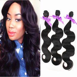 Wholesale Cheap Synthetic Weave - cheap 3bundles Body Wave Hair weave Fiber natural color 1B High Temperature Hair Weaving Luxury Synthetic Hair Extensions weft