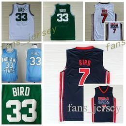 Wholesale Birds Homes - 1992 USA Dream Team Larry Bird Jersey 7 Throwback Indiana State Sycamores 33 Larry Bird College Jerseys Home Green White Navy Blue