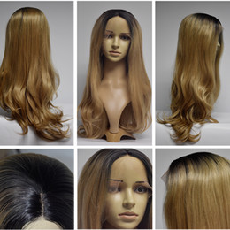 Wholesale Blonde Wigs Wholesale - Blonde Lace Front Wig Dark Roots Glueless Synthetic Heat Resistant Fiber Natural Fully Hair Women Wigs Long Wavy