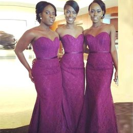 Wholesale Long Chiffon Peplum Design - Nigerian Purple Sweetheart Mermaid Bridesmaid Dresses Ruched Saudi Arabic Lace Wedding Party Dresses New Design Custom Made Formal Gowns
