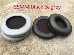 Wholesale Headphone Cushion Covers - Free Ship 20 Pairs   40pcs 55MM Leather Earphone Foam Earbud big ear buds Headphone 9cm Ear pads cushion Sponge Covers Tips