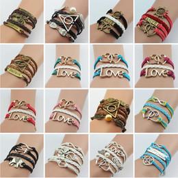 Wholesale Cute Infinity Charm Bracelets - Fashion Womens Leather Multilayer Cute Infinity Love Heart Wings Charms Bracelet Wax Cords Leather Braid Bracelet - Best Chosen Gift