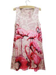 Wholesale Tank Top Dress Printing - Wholesale- 2015 TOP SALE Fashion flamingo 3D print tank dress Summer Women Lady Girl gift Sleeveless Bird pattern Mini Dresses freeshipping