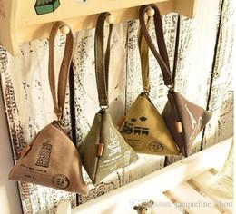 Wholesale Hop Storage - Free Shipping Kawaii Retro Times Dumpling Shape 8CM Coin Purse Canvas Storage & Keys Holder Case Wallet Pouch Women Four Colors 0132