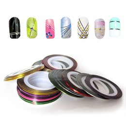 Wholesale nail art tapes - 20 color Stickers Striping Tapes Nail Art Rolls Pretty UV Gel Decoration Cute l_f (Color: Multicolor) 002