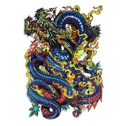 Wholesale Eye Transfers Tattoos Stickers - Waterproof Large Temporary Tattoo Stickers Men Arm Leg Fake Transfer Tattoo Dragon Lion Sexy Products High Quality