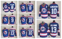 Wholesale Vintage Nhl - NHL Ice Hockey Winnipeg Jets Jerseys CCM Vintage Throwback Teemu Selanne Bobby Hull Dale Hawerchuk Laurie Boschman Blue Jersey