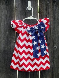 Wholesale Toddler Girls Chinese Dress - Baby American Flag Dress Blue Star Bowknot Red Striped Clothing Preppy Toddler Baby Girl Clothes 2-7T