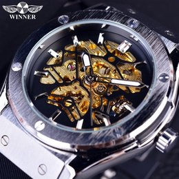 Wholesale Military Automatic Sports Watch - New Sport Design Mens Watches Top Brand Luxury Automatic Watch Men Golden Skeleton Rubber Band Men Military Watch Clock Men