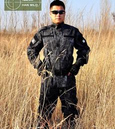 Wholesale Tactical Uniform Pant - Men Tactical Uniform Combat Wargame CS Boa Constrictor Snake Pattern Camouflage BDU Fatigues Jacket Pants Sets Black