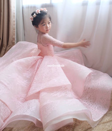 Wholesale short girls chiffon pageant dresses - 2017 Pink Ruffles Tiered Skirts Flower Girls Dresses 1 2 Sleeve Back Cover Button Kids Pageant Gowns First Communion Dresses Custom Made