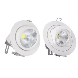 Wholesale Office Spot Lights - Wholesale- 10W 15W COB Led Downlights Recessed Ceiling Spot Light 360 Degree Adjustable Ceiling Downlight For Kitchen Home Office AC85-265V