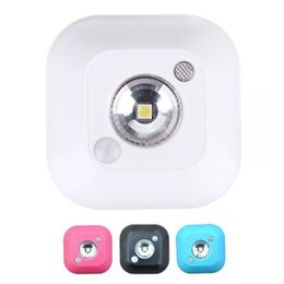 Wholesale Infrared Motion Sensor Mini - Wholesale- Mini PIR Human Body Motion Sensor LED Night Light Wireless Infrared Induction Lamp for Cabinet Bedside Hallway CLH