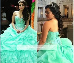 Wholesale Turquoise Corsets - Best Selling 2017 Ball Gown Turquoise Quinceanera Dresses With Beaded Crystal Organza Ball Gowns Sweet 16 Gowns Corset Formal Dress