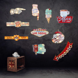Wholesale Lighted Coffee Signs - Wholesale- Retro Las Vegas Led Neon Sign Cafe Coffee Pub Bar Illuminated Signboard Art Painting Wall Decoration Hanging Light Metal Signs