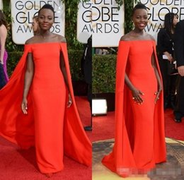 Wholesale Deep V Neck Award - Red Capet Celebrity Dress 2017 Golden Globe Award Lupita Prom Dresses Off Shoulder sexy Fancy Cape Cloak Bateau Sheath Evening Gowns