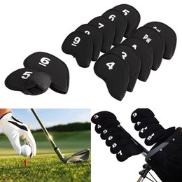 Wholesale Iron Headcovers - Hot Sale 10Pcs Golf Club Iron Putter Head Cover HeadCovers Protect Set Neoprene Black Fast Shipping