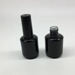 Wholesale Wholesale Art Glass Containers - 15ml Round Shape Empty Nail Polish Bottle Portable Brush Nail Art Container Glass Nail Oil Bottles fast shipping F20171589