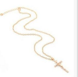 Wholesale Europe Christian - 000 Christian Cross necklace pendant Clavicle chain Alloy Gold Silver Fashion sweater chain Silver necklace Europe and the United States