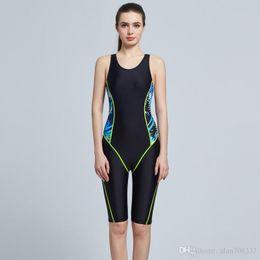 Wholesale competitive sports - Women Sport Swimsuits Competitive Swimming Suits Girls Racing Swimwear One Piece Swim Suit Competition Swimsuit Knee Length 6002