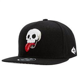 Wholesale Hiphop Skull Cap - Men's Skull Poker Embroidery Snapback Fitted Hat Black Skeletion Baseball Hat Flat Brim Hiphop Caps Men