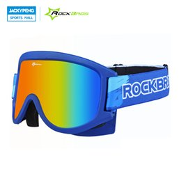 Wholesale Men Snowboard Goggles - Wholesale- ROCKBROS Skiling Glasses Double-Layer Anti-Fog MTB Cycling Snow Snowboard Goggles Ski Mask Eyewear For Adults And Children
