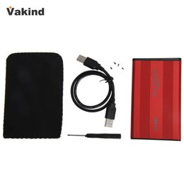 Wholesale Hard Cases For Laptop Computers - Wholesale- USB 2.0 2.5 Inch SATA Enclosure External Case for Laptop Desktop Computers Hard Disk Red With USB Cable Screws Screwdriver