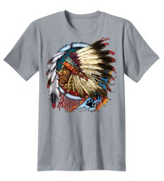 Wholesale Native American Fashions - Men's Fashion Native American Indian Chief Dream Catcher Feathers Trippy Cool T-Shirts Cotton Graphic Tee Shirt