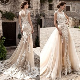 Wholesale Mermaid Detachable Skirt - Champagne Lace Beach Wedding Dresses With Detachable Train Applique Sheer See Through Skirt Mermaid Wedding Dress Plus Size Bridal Gowns