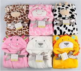 Wholesale Plain Baby Towels - Cute 2017 Kids Animal Bathrobe Baby Bath Towels Fleece Stock Cheap Poncho Hooded Beach Towel Cow Cartoon Swim Towels Wrap Blankets