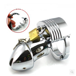 Wholesale Sex Fun Toys - Adjustable ring size stainless steel male chastity with penis lock SM torture cb chastity jj bird cock cage fun SEX TOYS CB019