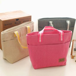 Wholesale Heat Ice Bag - Wholesale- The new portable heat preservation lunch boxes lunch picnic bag canvas 3 color chain insulation bag ice bag