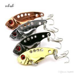 Wholesale Metal Vib Bait - INFOF 100Pcs Fishing Lure Blade Metal VIB Bait With 10# Hooks Fishing Tackle spoon lures vibe baits