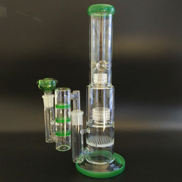 Wholesale High Tall - Glass Bongs With Ashcatcher Big Green Bong Glass Water Pipes Tall Thick Beaker Bongs Bubbler 18.8 Male Joint Glass Material High Quality