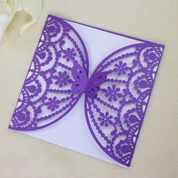 Wholesale Customize Purple Invitation Cards - Butterfly Laser Cut Wedding Invitation Card Purple Invitation For Marriage Business Birthday Multi Colors Customize Invitations