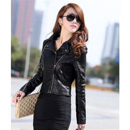 Wholesale women biker jacket faux leather - Wholesale- Chic Women Slim Biker Motorcycle PU Leather Jacket Coat Zipper Punk Casual Outwear