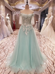 Wholesale Short Sleeved Long Gowns - 2017 New SSYFashion Luxury Evening Dress Bride Light Green Lace Flower Boat Neck Half Sleeved Long Prom Dress Party Formal Gown
