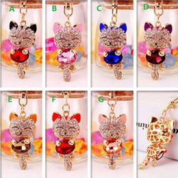 Wholesale Rhinestones For Cars - DHL FREE Lucky Smile Cat Crystal Rhinestone Keyrings Key Chains Holder Purse Bag For Car Christmas Gift Keychains Jewelry llaveros