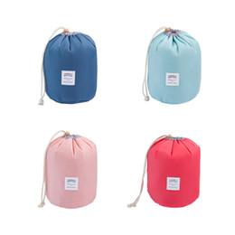 Wholesale Korean String Bag - Hot sale Korean elegant large capacity Barrel Shaped Nylon Wash Organizer Storage Travel Dresser Pouch Cosmetic Makeup Bag