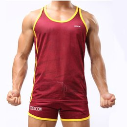 Wholesale Hot Underwear Men - Hot Sale Men Summer Breathable Sweat Quick Dry Vest Men's Home Service Boxing Shorts Loose Men's Underwear Gay sexy suit Free Shipping