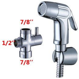 "Wholesale Gun Adapter - Free Shipping Chrome Bidet spray gun Toilet flusher G7 8"" Brass T-adapter + ABS Handle Strong pressure Sprayer Shower head + 150cm Hose set"