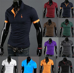 Wholesale Giraffe Sleeve - Giraffe Polo Mens Short Sleeve T-shirt Tee Embroidered Deer Cotton Casual Tees Plus Size Summer Shirts Fawn Embroidery