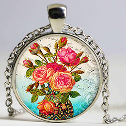 Wholesale Rhinestone Flower Vases - Sakura pendant. Flowers necklace. Flowers jewelry. BirtRoses in a Vase hday gift, Gift,Silver PlatedGlass cabochon pendant. Handmake jewelry