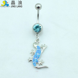 Wholesale New Gecko - Popular! New Design High Quality Fashion 2 Colors Metal Gecko Belly Button Rings For Women Body Piecing Jewelry