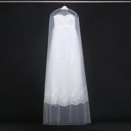 Wholesale Wholesale Bridal Gown Bags - 160cm 180cm Transparent Wedding Dress Dust Cover Soft Tulle Garment Bags Bridal Gown Scratch Resistant Net Yarn Bag 20pcs ZA1822