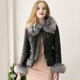 Wholesale Ladies Fox Leather Jackets - Free shippping Faux Fox Fur Collar Fur Sleeves Lady Lambskin PU Jacket Slim Plus Size Black Outwear